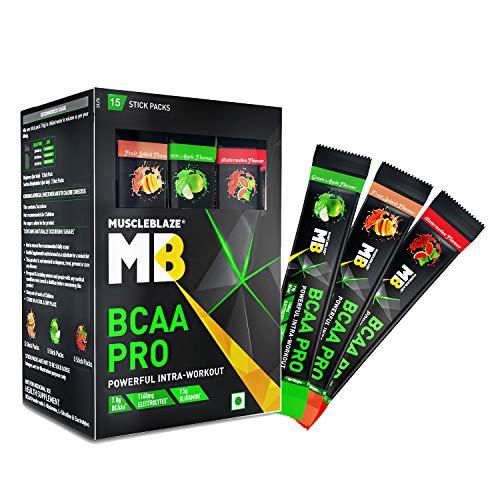 MuscleBlaze BCAA Pro, Powerful Intra Workout, with 7g Vegan BCAAs, 1057 mg Electrolytes, 2.50 g Glutamine (Watermelon, Fruit Splash & Green Apple, 15 Servings)