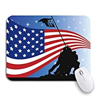 ECOMAOMI 可愛いマウスパッド Iwo Us Flag and Soldiers Jima Memorial Silhouette War Nonslip Rubber Backing Computer Mousepad for Notebooks Mouse Mats
