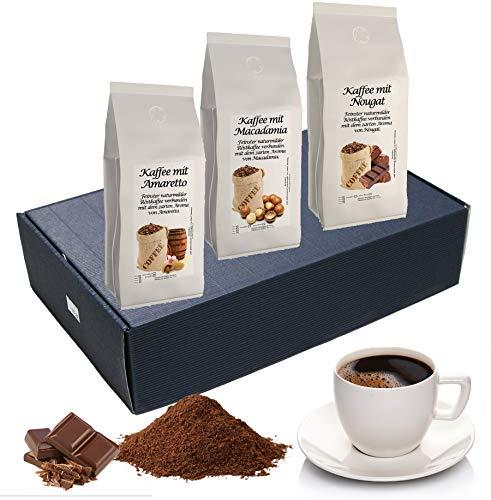 Geschenk Set Aromatisierter Kaffee Ganze Bohne 3 x 200 g (Amaretto, Macadamia und Nougat)