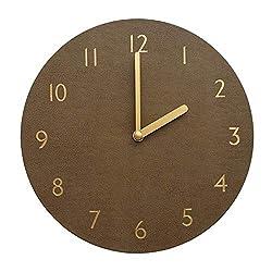 thehaki Decorative Wall Clock Silent & Non-Ticking Quartz Clock PU Leather Lightweight 0.4lb Round 9 (Brown)