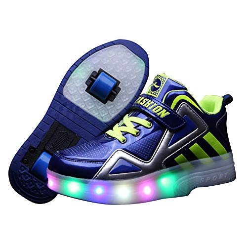 Shoe Be 2 Children's LED Flashing Skates, USB Charging Student high-top Sneakers, Unisex self-propelled Invisible Two-Wheeled Roller Skate