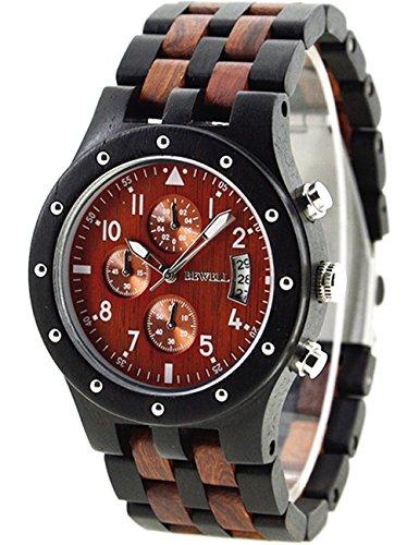 Orologio da uomo in legno nero, multifunzionale, con cronografo e calendario