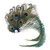 Fascinator Peacock Feather Hair Clips Flapper Headband Art Deco 20's Accessories for Women Green