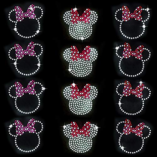 EKOI Iron on Decals for Face Mask - Cute Mouse Rhinestone Transfers Patches Mini Designs Heat Hotfix Embellishment Sparkle Glitter Motif Decorative Designs for DIY Kids T-Shirts Clothing (12PC)