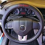 Housse De Volant En Cuir En Fibre De Carbone De Voiture En Microfibre De 38 Cm Avec EmblèMe, pour Volvo Xc90, Accessoires IntéRieurs Automatiques, Anti-DéRapant, Respirant, Sans Odeur, Durable