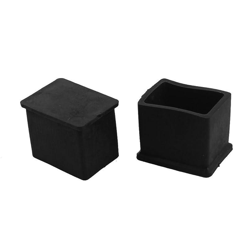 愛撫後方煩わしいuxcell 脚ピタキャップ 家具のゴム足パッド 長方形 ゴム ブラック 2個入れ