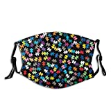 Autism Awareness Puzzle Pattern Autism-Face Mask Balaclava, Washable&Reusable With 2 Filters, For Adult Women Men&Teens