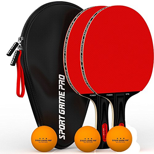 Sport Game Pro Ping Pong Paddle JT-700 with Killer Spin + Case for Free (red)