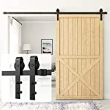 HomLux 10ft Heavy Duty Sturdy Sliding Barn Door Hardware Kit Single Door - Smoothly and Quietly - Simple and Easy to Install - Fit 1 3/8-1 3/4 inch Thickness Door Panel(Black)(J Shape Hangers)