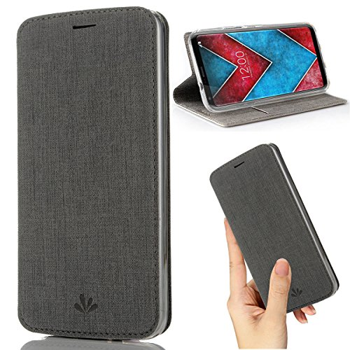 LG V30 Case,LG V35 ThinQ V30S ThinQ V30 Plus Case,Premium Flip Leather Wallet Phone Case With Stand Card Slot Magnetic Full Body Shockproof Protective Inner Clear TPU Cover for LG V35 Thin (Gray)