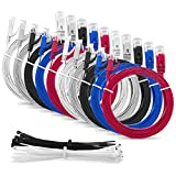 Multi Cable SLIM FLAT 1m Cat6 RJ45 Ethernet Network Patch Lan cable - Multi Coloured'10 Pack' - 1 meter + 15 Cable ties