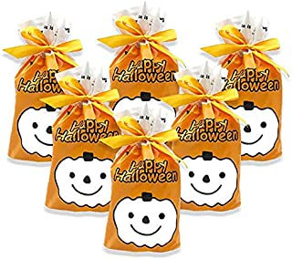 50Pcs Halloween Candy Bag Pumpkin Goody Bags - Happy Halloween Drawstring Gift Wrapping Plastic Bags for Halloween Ghost P...