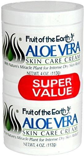 Fruit of the Earth Cream Aloe Vera 4 Ounce Jars Pack of 2