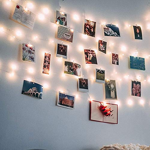 Photo Clip String Lights 17Ft - 50 LED Fairy String Lights with 50 Clear Clips for Hanging Pictures, Photo String Lights with Clips - Perfect Dorm Bedroom Wall Decor Wedding Decorations