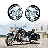 Xprite 4.5' 4-1/2' LED Fog Light Passing Projector CREE Spot Lamp Compatible with Motorcycles Harley Davidson 4.5 inch round Spot Lights - Chrome