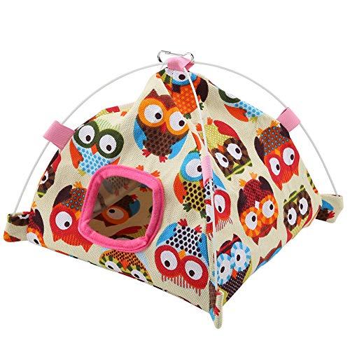 TOPINCN - Tienda de campaña de lona para dormir, con personajes animados para jaula de aves + almohadilla interior; apto para loro, aves, hámster o mascotas pequeñas