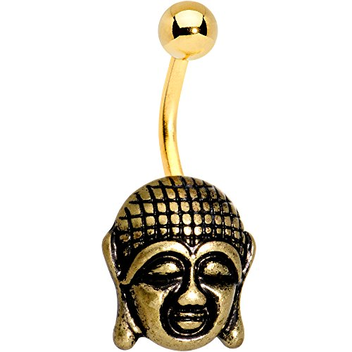 Body Candy Anodized Steel Ancient Buddha Belly Ring Set of 2