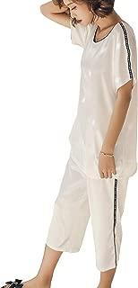 XINGWU パジャマ レディース 夏 半袖 七分ズボン 女性 寝間着 上下セット かわいい シンプル 純色 ルームウェア エレガント