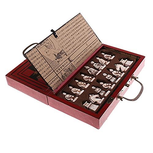 BOGFLG Juegos Madera 32 Unids/Set Resin Chess Traditional Chess con café Mesa de Madera Vintage Tablero Juego Juguetes Regalo de colección Pensamiento Rápido