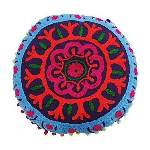 JISHYU-Q almohada india tejida a mano de 13.7 pulgadas, cojín redondo para silla de suelo, cojín de meditación, yoga, cojín para el hogar, decoración para el sofá, cama, ventana de coche
