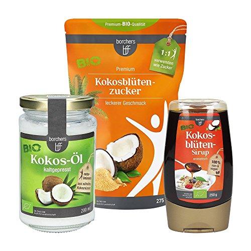 borchers bff Bio Kokos Probierpaket: 1x Bio Kokosöl nativ 200ml, 1x Bio Kokosblütenzucker 275g, 1x Bio Kokosblütensirup 250g Bio