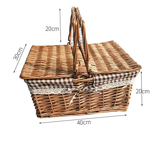 MOXIN Picnic Woven Romantic Basket Wicker with Lid and Handles for Carrying, Gingham Pattern Lining, Organizing Storage Shopping Bags Groceries Gifts Flower Food,Coffee Lattice