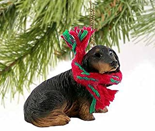 Dachshund Miniature Dog Ornament - Longhair - Black & Tan