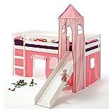 IDIMEX Rutschbett Hochbett Spielbett Bett Benny Kiefer massiv Weiss mit Turm+Vorhang pink 90 x 200...
