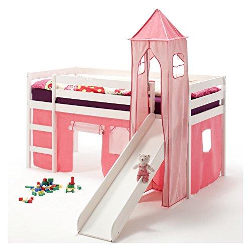 IDIMEX Rutschbett Hochbett Spielbett Bett Benny Kiefer massiv Weiss mit Turm+Vorhang pink 90 x 200 cm (B x L) mit Rutsche