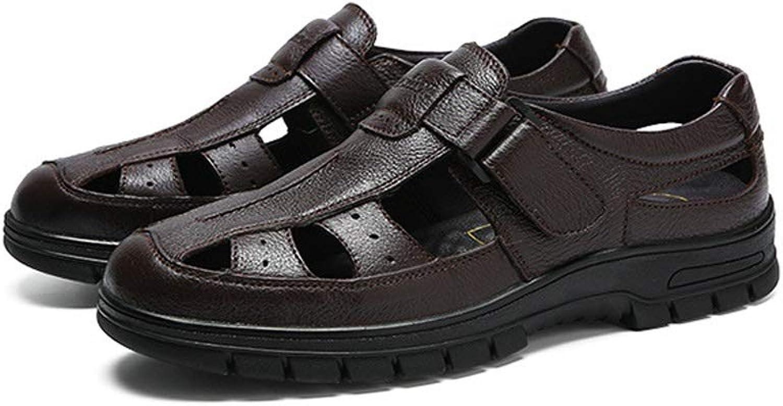 LiXiZhong Men's Outdoor Sandals Summer Beach shoes Closed Toe Walking Fisherman Non-slip Comfortable Casual Fashion Sandals (color   Brown, Size   9.5 UK)