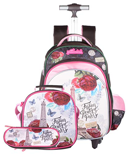 Meetbelify Kids Girls Rolling Backpack for Girls with Lunch Bag Backpack with Wheels for Girls for School Roller Backpack