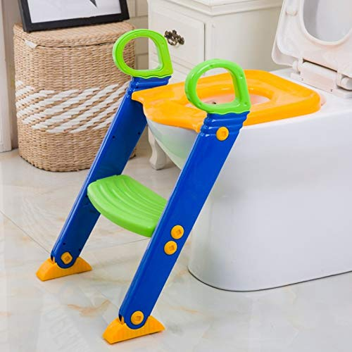 YSYW Potty Training Step Stools Portable Baby Toddler Potty Seat Children Toilet Seat Ladder Chair Kit for Girls and Boys,B