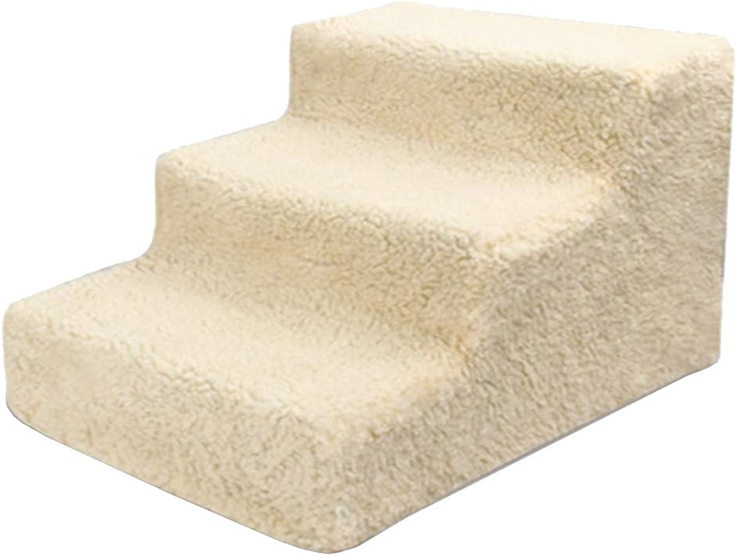 Pet stairs 3Step Dog Ramp Cat Ladder For High Bed Sofa, Washable Removeable Cover, Load 70 Lbs, Khaki