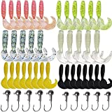 Grub Fishing Lures With Jig Head Hooks Kit Soft Plastic Bait Grub Tail Set Smell Artificial Bait Crappie Jigs Tubes Baits 3D Eyes Long Tail for Bass Trout Saltwater Freshwater Fishing 17/48/110pcs