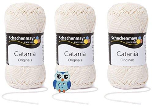 Schachenmayr Catania Wolle 3x50 Gr, 100% Baumwolle + 1 Eulen Knopf (Farbreihe 100-199) (130 Creme)