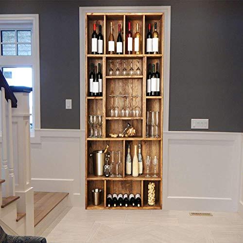 RGAHOT Murales Para Puertas Copa de botella de vino de gabinete de vino 3D Papel Pintado Puertas Autoadhesivo Cocina Sala de Baño impermeable Desmontable Vinilos Póster DIY Arte Casera Decoración 77x2