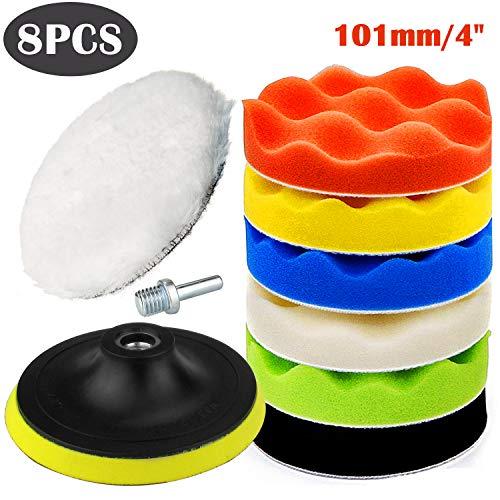 SunTop 8pcs 100 mm(4 Inch) Auto Polierpads, Auto Polierschwamm, Polierschwamm Set für Polierauflage Bohrmaschine,Polierpad Set und Wolle Polierteller