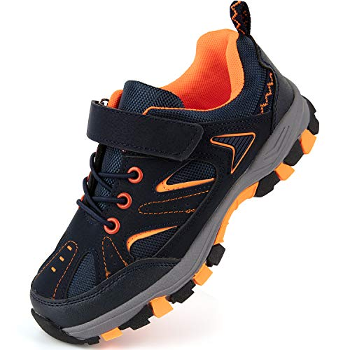firelli Boys Hiking Shoes Breathable Non-Slip Kids Sneaker for Outdoor Sport Protection (12,Navy Orange)