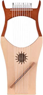 Muslady Harps Walter.t 10-String Wooden Lyre Harp Nylon Strings Spruce Topboard Beech Wood Backboard String Instrument with Carry Bag