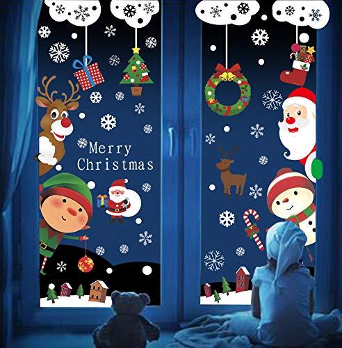 UMIPUBO 9 PEC Adesivi Natale, Pupazzo Babbo Albero Natale Renna Bambino,3D Adesivi Elettricità Statica,DIY Stickeri Decorazioni Feste,Casa Negozio Finestre Murali Vetro