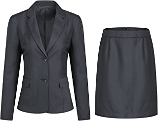 YFFUSHI Women 2 Pieces Skirts Suit Jacket Formal Ladies Office Business Blazer Coat