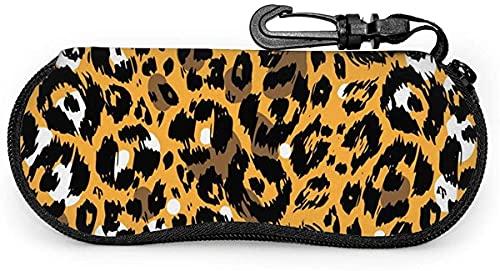 Estuche para gafas amarillo con estampado de leopardo y piel de animal para mujer y hombre con mosquetón