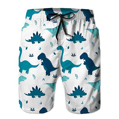 Mens Surf Fashion Swim Trunk Watershort Pantalones Dinosaurio Lindo Antiguo Animal Grande Plano sin Costuras