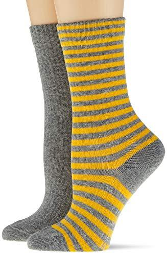 ESPRIT Damen Sporty Stripe 2-Pack Socken, grau (light grey mel. 3390), 39-42 (UK 5.5-8 Ι US 8-10.5) (2er Pack)