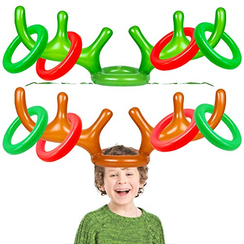 iGeeKid 2 Pack Inflatable Reindeer Antler Ring Toss Game Christmas Party Game Headband Inflatable Toys for Xmas Holiday Party Supplies Carnival Game( 8 Rings, 2 Antlers)