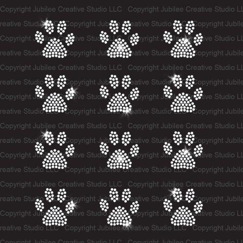 Set of 12 Mini Paw Print Iron On Rhinestone Crystal T-Shirt Transfers by JCS Rhinestones