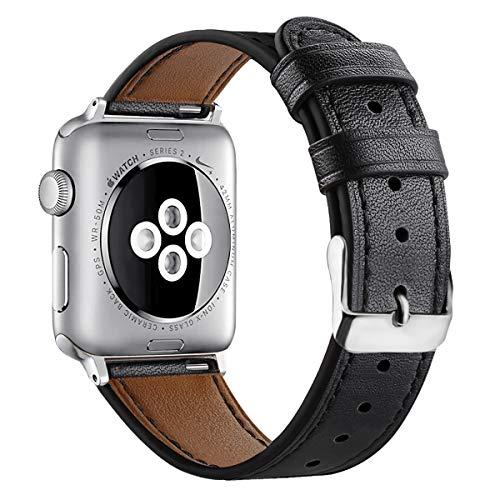 AISPORTS Compatible con Apple Watch Correa 40mm 38mm Cuero para Mujeres y Hombres, Elegante Pulsera con Hebilla Clásica de Metal Correa de Repuesto para Apple Watch SE/iWatch Series 6/5/4/3/2/1