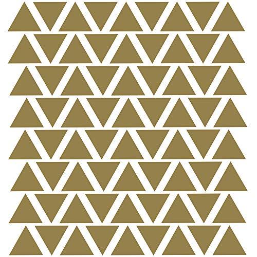 PREMYO 72 Triángulos Pegatinas Pared Infantil - Vinilos Decorativos Habitación Bebé Niños - Fácil de Poner Oro