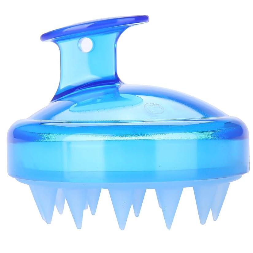 形きゅうり望み5色マッサージャーヘッド - スカルプマッサージャー、マッサージャーブラシヘッドシャンプー - ボディ洗浄マッサージャーのためのシャワーブラシ(青)