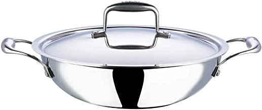Vinod Platinum Triply Stainless Steel Kadai with Lid - 28 cm, 3.7 Ltr (Induction Friendly)